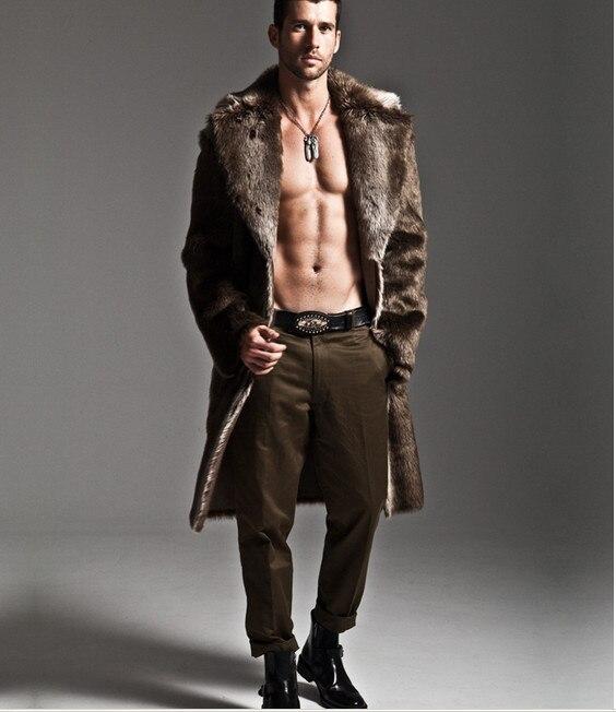 Männer Kunstpelz Mantel Marke Mode Slim Fit Turn-Down Luxus Langen - Herrenbekleidung - Foto 4