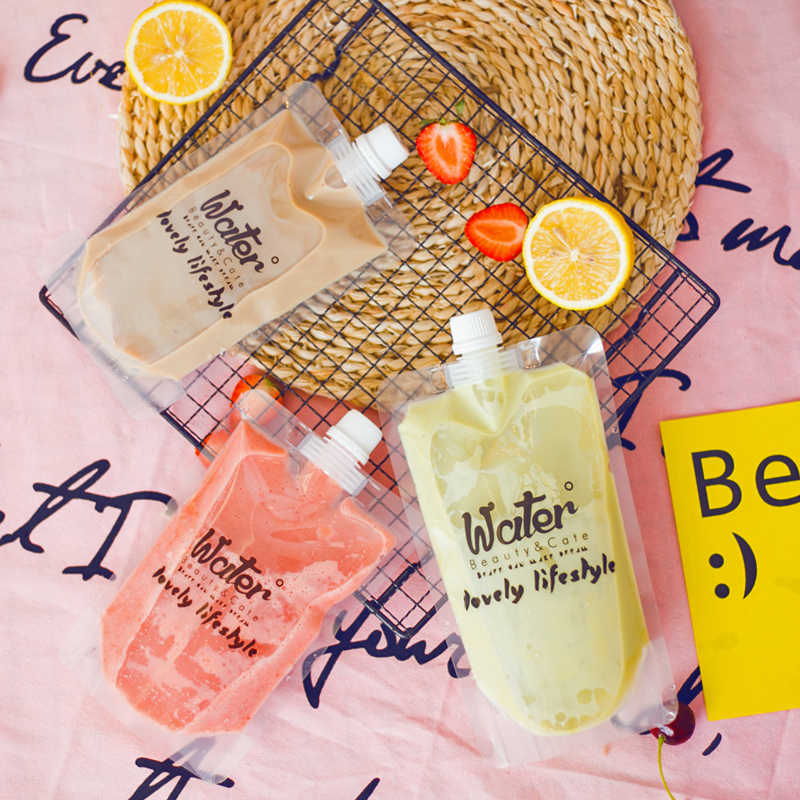 HARDIRON English Transparent Big Mouth Self-priming Beverage Bag Disposable Milk Tea Juice Self-standing Sealing Pocket