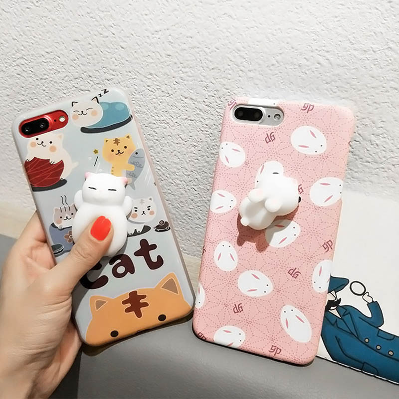 3d squish cat case for iphone 6 6s 7 plus funny soft for 3d decoration for phone cases
