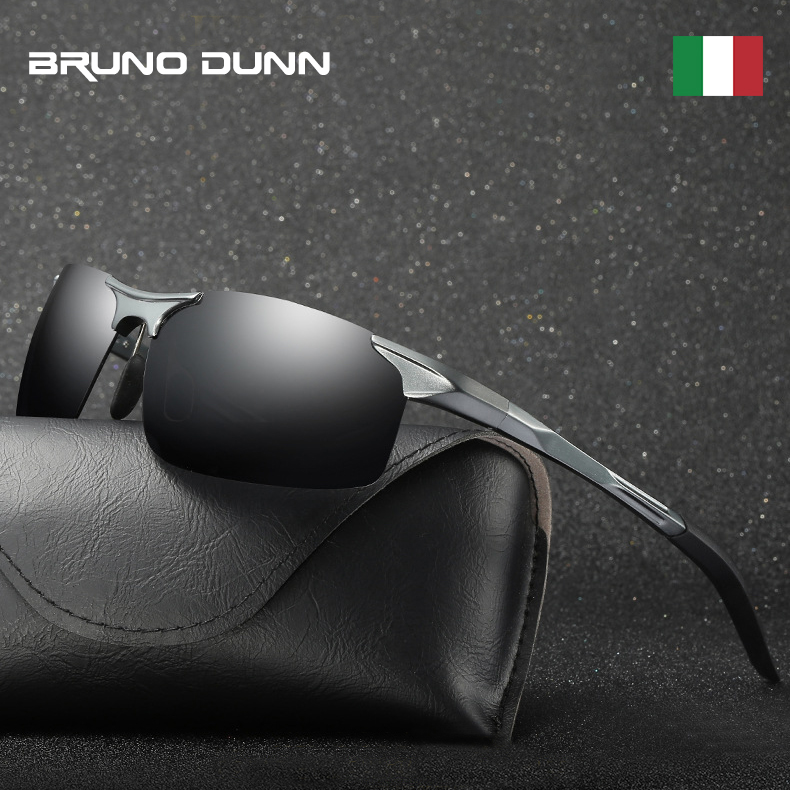 Bruno Dunn Driving polarized Men sunglasses 2020 sports High Quality UV400 Aluminum sun glasses for male oculos de sol masculino(China)