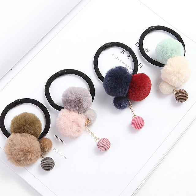 New Artificial Rabbit Fur Ball Elastic Hair Rope Rings Ties Bands Ponytail  Holders Girls Hairband Headband Hair Accessories 25bee2a2524c
