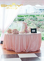 ShinyBeauty 108inch Round Baby Pink Sequin Tablecloth For Wedding Banquet Table Decoration