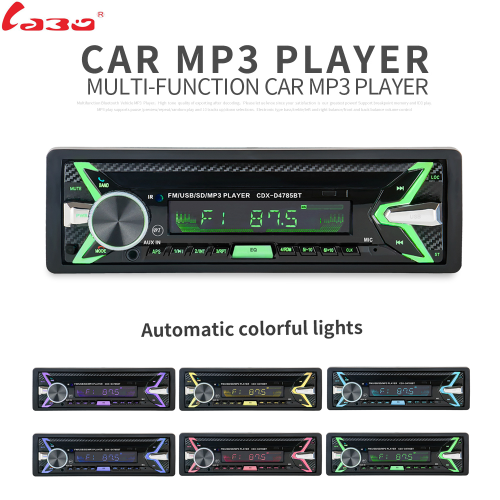 Bluetooth Removable Detachable Panel Autoradio Bluetooth Car Radio Auto FM RDS Stereo Audio Player USB SD ISO 7 Colors Lighting