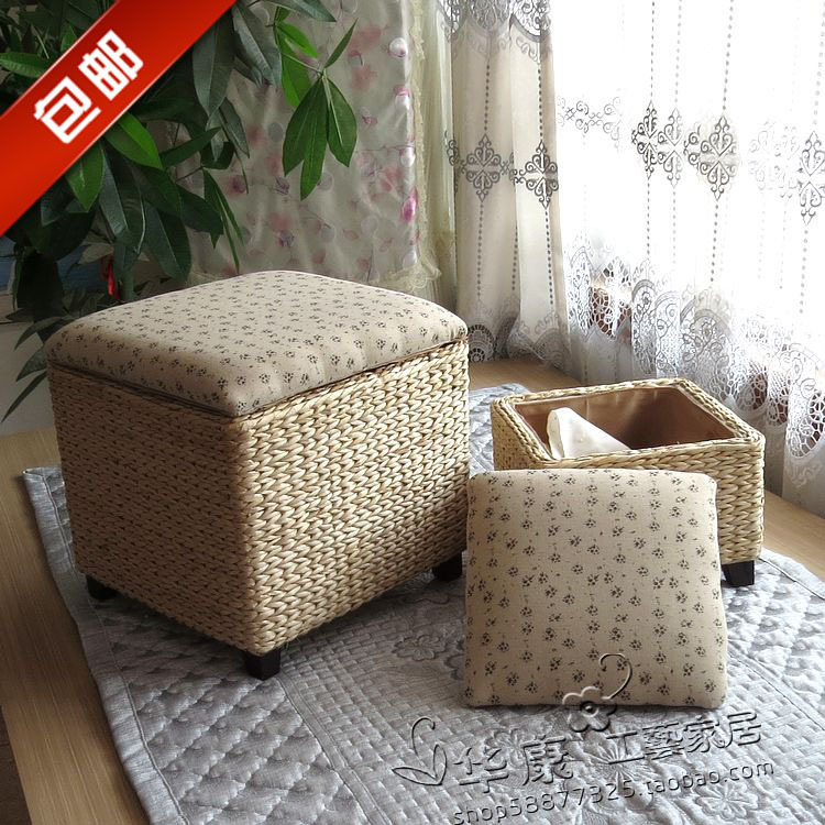 Ikea Simple Rattan Garden Storage Stool Stool Changing His