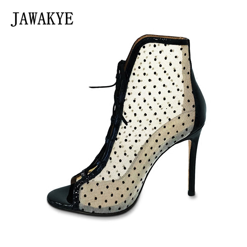 JAWAKYE New grenadine dot Cut Outs Lace up high heels Summer Boots Women female gladiator sandals Peep toe botines mujer 2018 цена