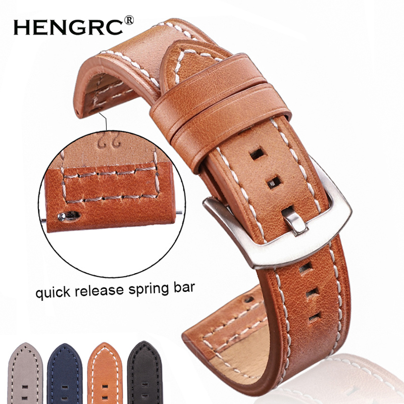 Watch Accessories Genuine Leather Watchbands Women Men Vintage Black Brown Gray Blue Watch Band Strap 18 20 22 24mm Bracelet