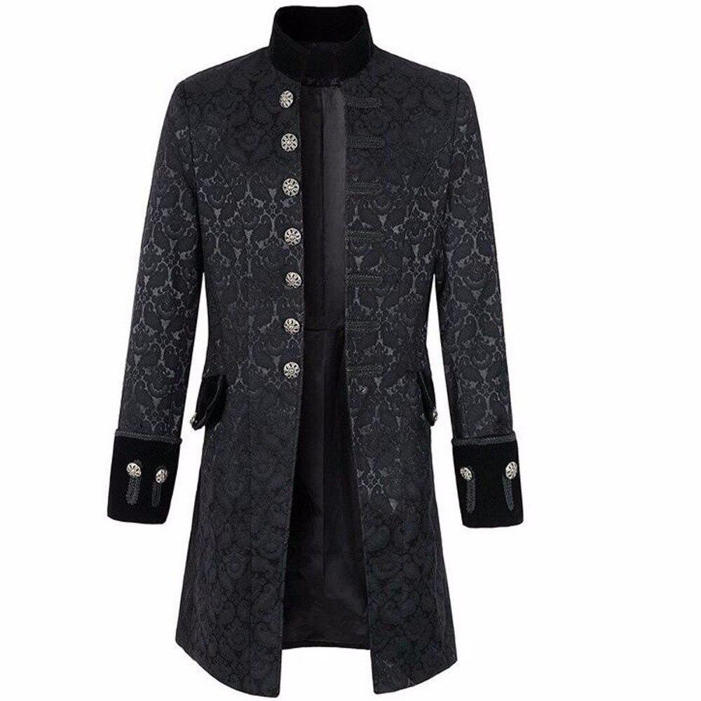 Mens Velvet Goth Steampunk Victorian Frock Coat Halloween Party Gothic retro costume jacket