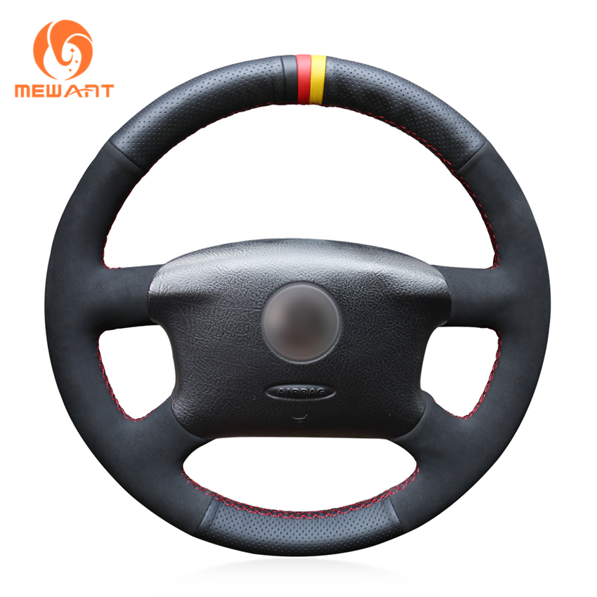 MEWANT Black Genuine Leather Car Steering Wheel Cover for Volkswagen Passat B5 VW Passat B5 VW Golf 4