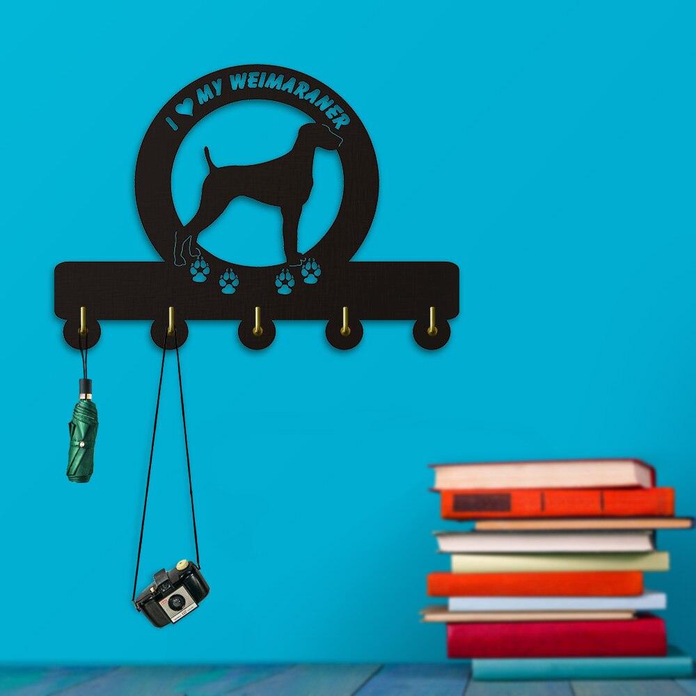 1Piece I Love My Weimaraner Wall Hooks Coat Hanger Household Decor Hanging Hooks Keys Holder Hooks Organizer Hook