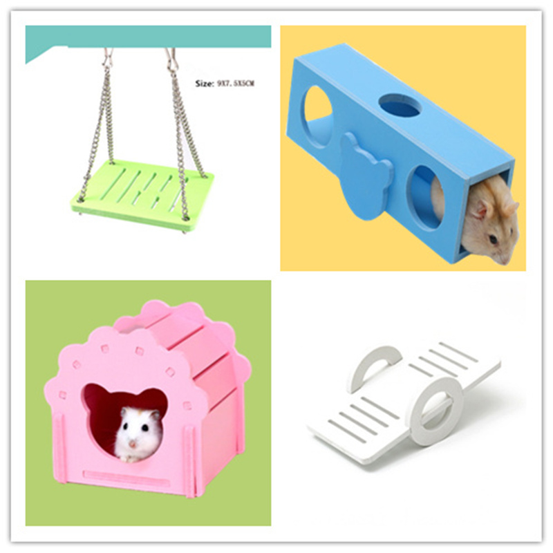 Hamster Seesaw Swing Hanging Gadget Wooden Cage Accessories Supplies Amuse Mouse Wooden Hamster Swing Rainbow Toy Drop Shipping