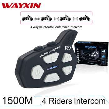 WAYXIN Helmet Headsets R9 Bluetooth Intercom For Motorcycle Fm  4 Riders Communicates Same Time 1Pcs Intercom Motorcycle 1500M Головная гарнитура