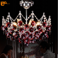 New Beautiful Red Chandelier Crystal Lighting Dia500 H370mm Modern Dinning Room Crystal Chandelier