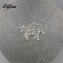 Elfin Flying Unicorn Necklace Geometric origami Unicorn necklace Women Necklaces Geometric Accessories Geometric Jewelry