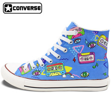 Men Women's Hand Painted Shoes Converse All Star Design Colorful Tapes Cartton Canvas Sneakers High Top Flats