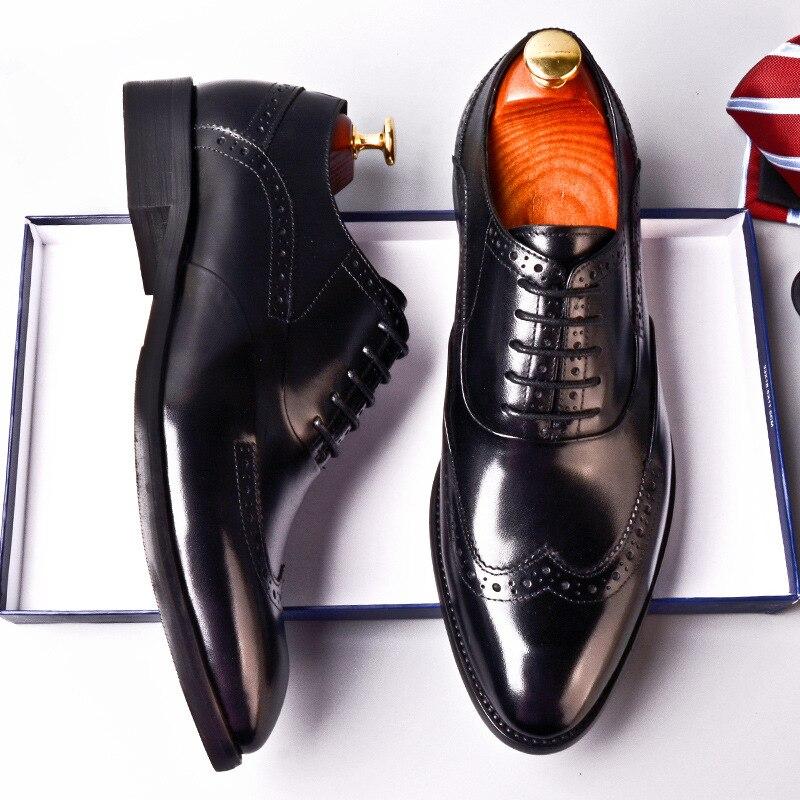 Marrón Calidad Zapatos Retro Oxford Cuero marrón Rojo Genuino Alta De Hombres vino Qyfcioufu Los Moda Vaca Negro Tinto Negro Vino Vestir w4ZqWvt