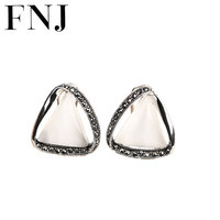 925 Silver Earring triangle White Opal Stone S925 Sterling Silver boucle d'oreille Stud Earrings for Women Jewelry