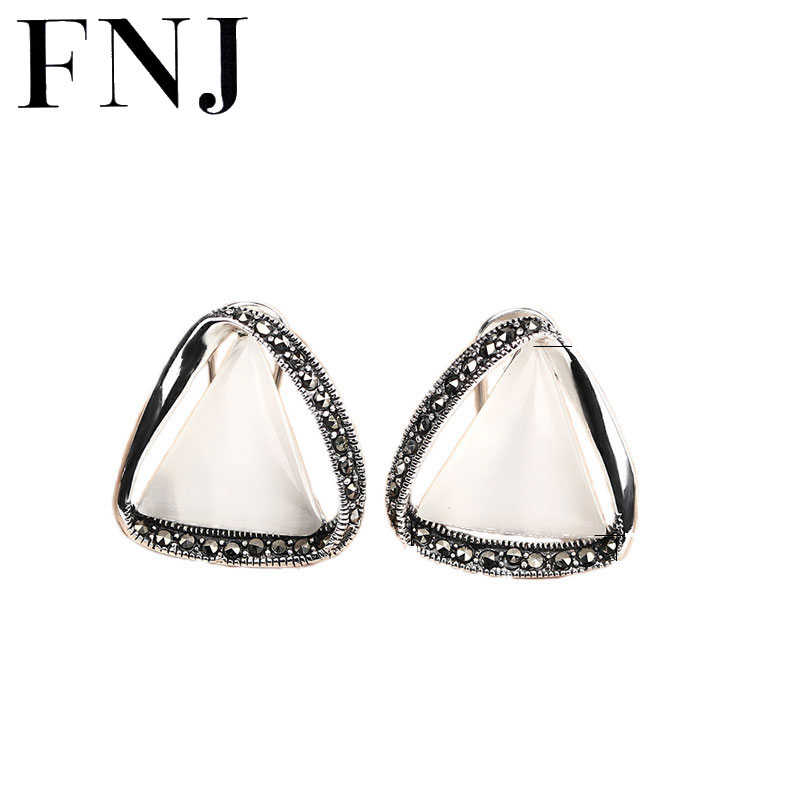 925 Silver Earring triangle White Opal Stone S925 Sterling Silver boucle d'oreille Stud Earrings for Women Jewelry pair of stylish rhinestone triangle stud earrings for women