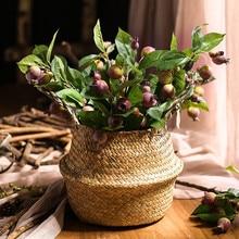 WCIC 2PCS Wicker Pots for Flower Handmade Seagrass Flower Basket Hanging Straw Basket Rattan Garden Planter Folding Flower Pots