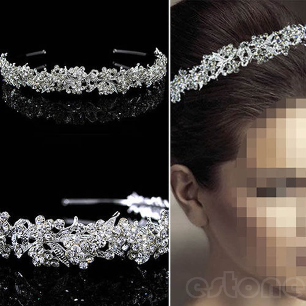 Hot Fashion Prachtige Twinkling Volledige Crystal Flower Leaf Wedding Bridal Flower Girl Tiara