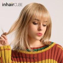 ESIN Женский парик смешанного типа 35 см Прямые шелковистые волосы 70% натуральных волос Парик каре с прямой ровной челкой на вечеринку, косплей