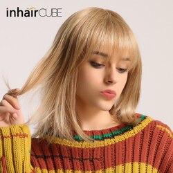 ESIN 16 zoll Gerade Haar Bob Perücken für Frauen Lange Perücke Synthetische Haar 50% Menschliches Haar + 50% Synthetische Haar elegante Ordentlich pony