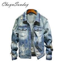 3d784e02b2 ChoynSunday 2019 Primavera e No Outono tendência social da juventude dos  homens jaqueta jeans buraco Retro azul estilo de rua hi.