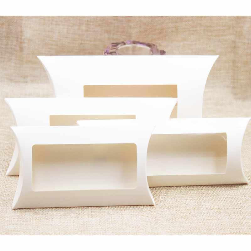 Boîte cadeau en papier blanc bricolage. Boîte-cadeau d'oreiller de taille de Mutli avec la fenêtre claire de pvc, boîte de fenêtre de papier de kraft/blanc/noir pour le cadeau 10 pièces