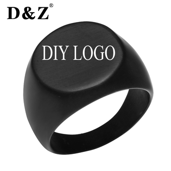 D&Z Punk Custom Engraved Black Smooth Rings for Men Stainless Steel Logo Pattern Signet Glossy Mens Ring Jewelry Unique Gifts gift for boyfriend on anniversary