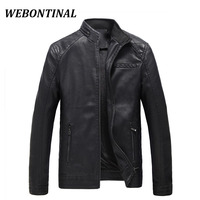 WEBONTINAL Jacket Men Brand Clothing Thick Velvet PU Faux Leather Winter Casual Windbreaker Male Motorcycle Mens