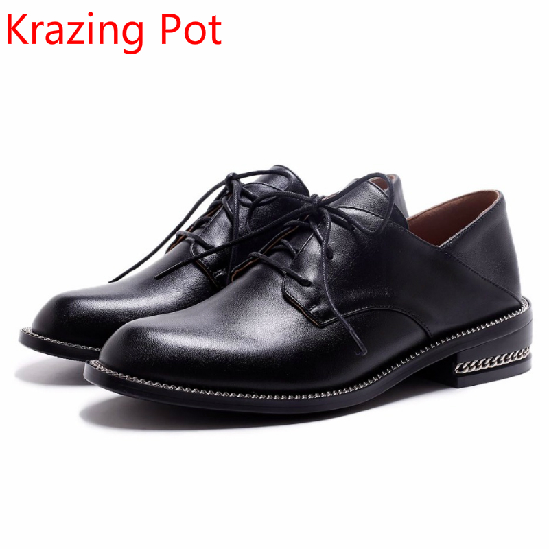 2018 Brand Spring Autumn Shoes Genuine Leather Med Heels Women Pumps Round Toe Lace Up Lazy Runway Handmade Casual Shoes L68 2017 genuine leather women pumps cut out lace up chunky heels handmade vintage women shoes
