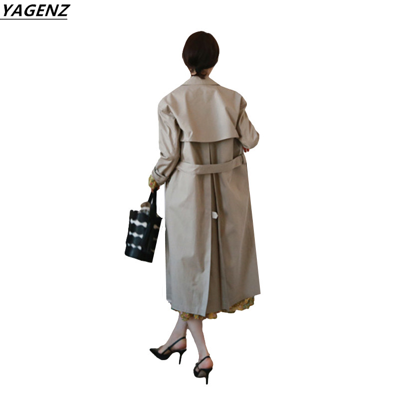 2017 Autumn Womens Trench Coat Long Section Cozy Casual Tops Sweet Womens Clothing YAGENZ New Fashion Female windbreaker A157