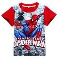 Moda 2017 Do Bebê Meninos de Manga Curta Homem-Aranha/Spider Man Camiseta Crianças T-shirt Crianças Verão De Algodão Impressora 3D Camiseta DW0085