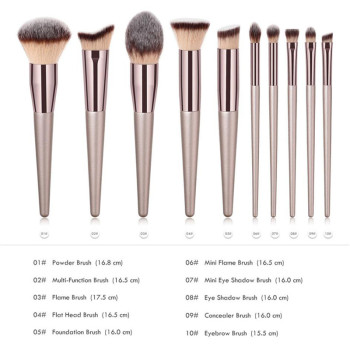 Wooden Champagne Makeup Brushes Set for Foundation Powder Blush Eyeshadow Concealer Lip Eye Make Up Brush Luxury Cosmetics Tools 2