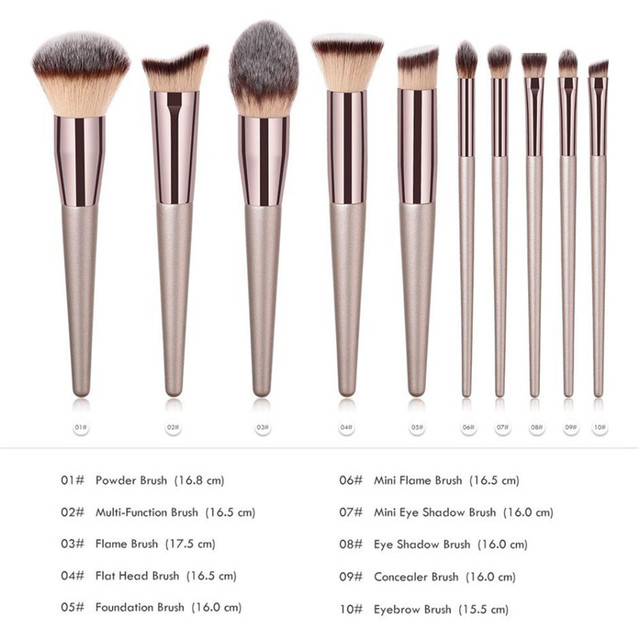 Wooden Champagne Makeup Brushes Set for Foundation Powder Blush Eyeshadow Concealer Lip Eye Make Up Brush Luxury Cosmetics Tools 1