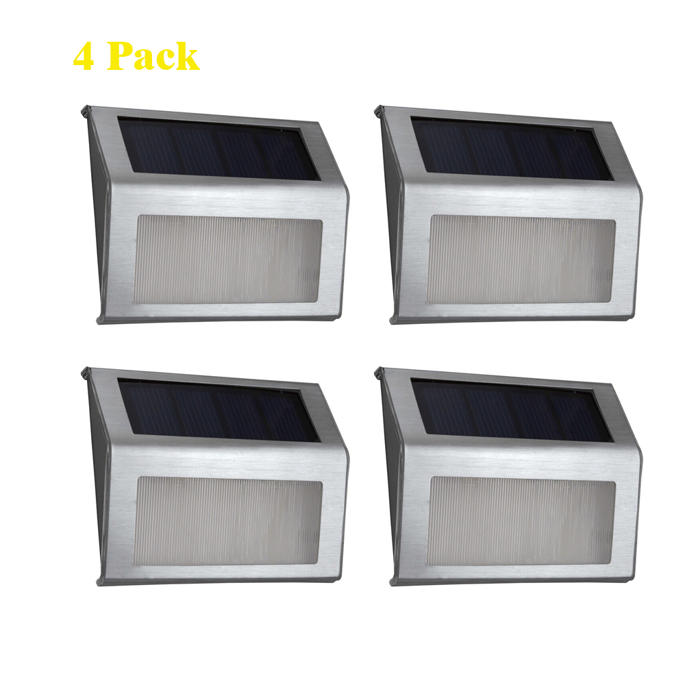 Led Solar Light Stainless Steel Outdoor Lighting Garden Decoration Wall Lamp Light Sensor Luminaria Emergency Warm White Light