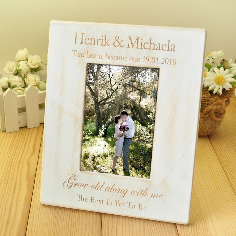 Custom Wedding Photo Frame, Wooden Wedding Couple Pictures Frames ...