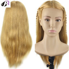 50cm Natural Human Hair Hairdressing Head Mannequin Head Model With Shoulder Practice Salon Training Doll Head For Hairstyles