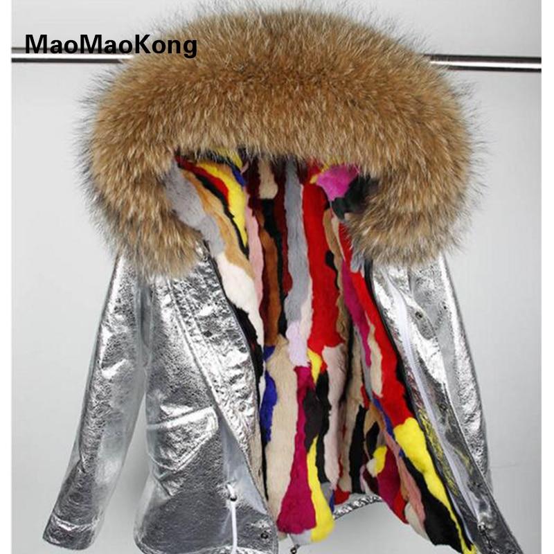 Rabbit fur Lined parka Natural Fur coat Silver pu coat real fur coat winter jacket women natural raccoon fur collar warm parkas