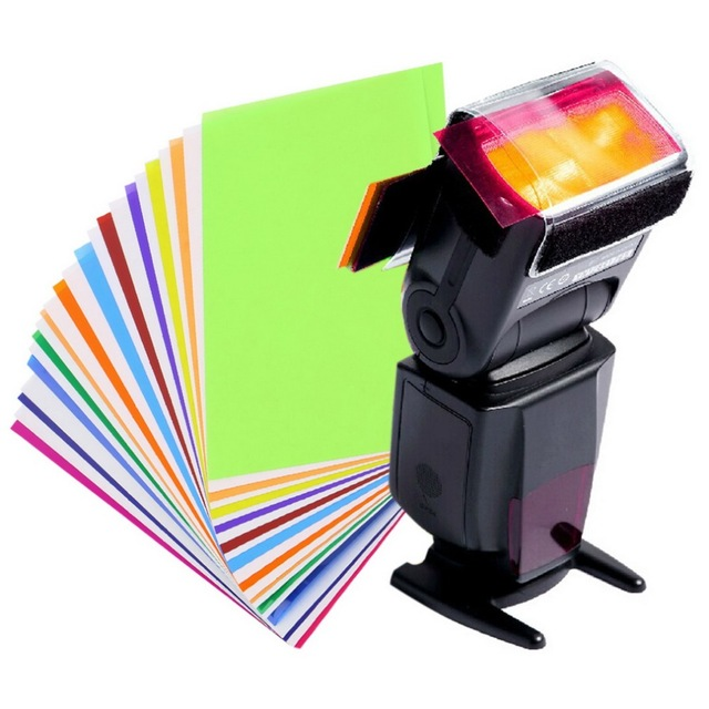 New 12 Color Gel Filter Balance with rubber band Strobist Flash Speedlite Accessories Kit Diffuser Lighting