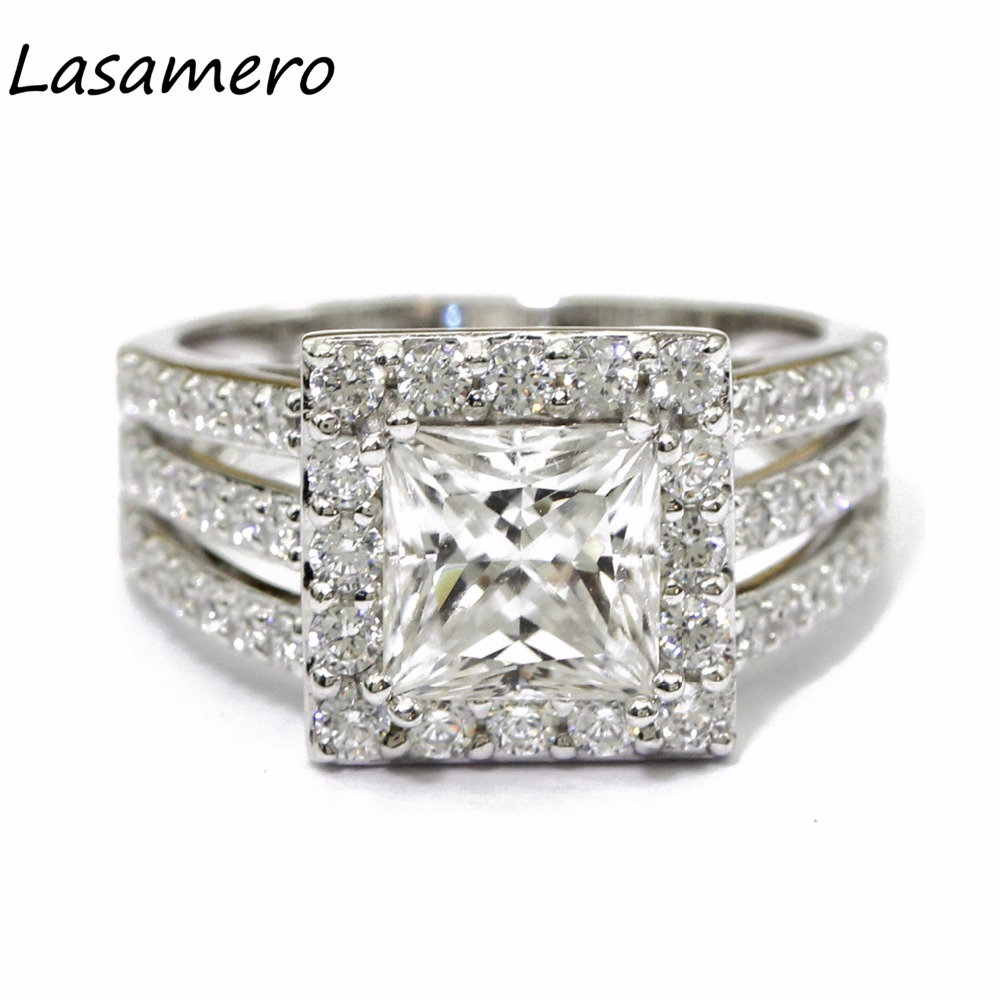 LASAMERO 7MM Luxury Princess Cut Simulated Diamond Engagement Ring 925 Sterling Silver Halo Accents Promise Wedding Ring