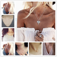 NK124 6 Styles Elegant Fashion Skull Peace Wing Wish Bone Short Chain Necklace For Women Pendant