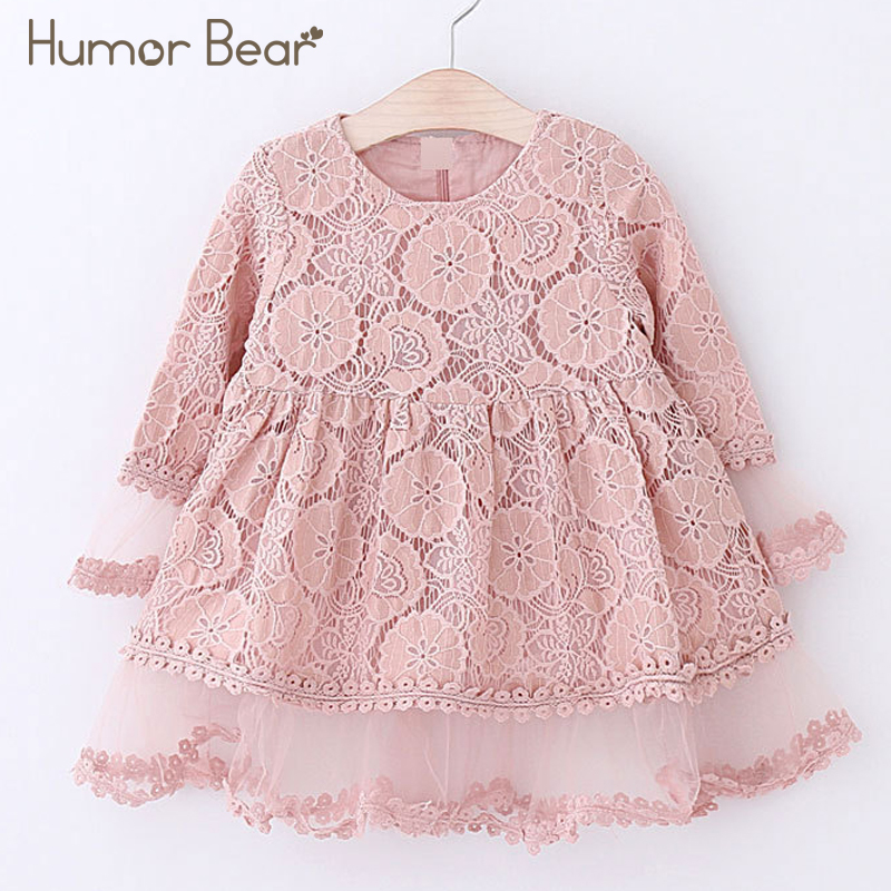 Humor Bear Girls Dress 2018 Autumn Brand Kids Dress Lace Flare Sleeve Style Princesses Mesh Dress Baby Girls Dress