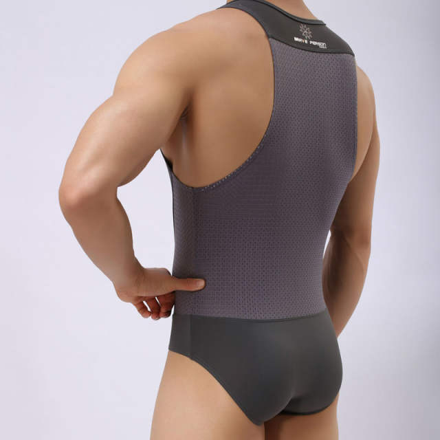 816db60fd6bfd Online Shop jumpsuit men underwear sexy onesie mesh Net fitness swim  fashion male Nylon hombres leotard shapers vest pajamas tracksuit