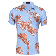 Summer Beach Short-sleeved Men's Silk Cotton Printing Hawaiian Shirt Multi-color  pink shirt  Casual Shirts  Turn-down Collar marulong s0002 women s fashionable flower pattern short sleeved nightdress green multi color