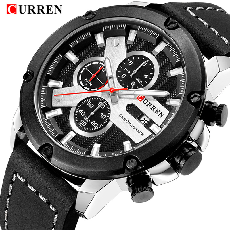 CURREN Top Brand Luxury Watch Men Date Display Leather Strap Analog Quartz Wrist Watches Fashion Sport Clock Relogio Masculino contemporary modern japanese american style triangle kitchen light house lighting led ceiling lamp for teens bedroom dining room