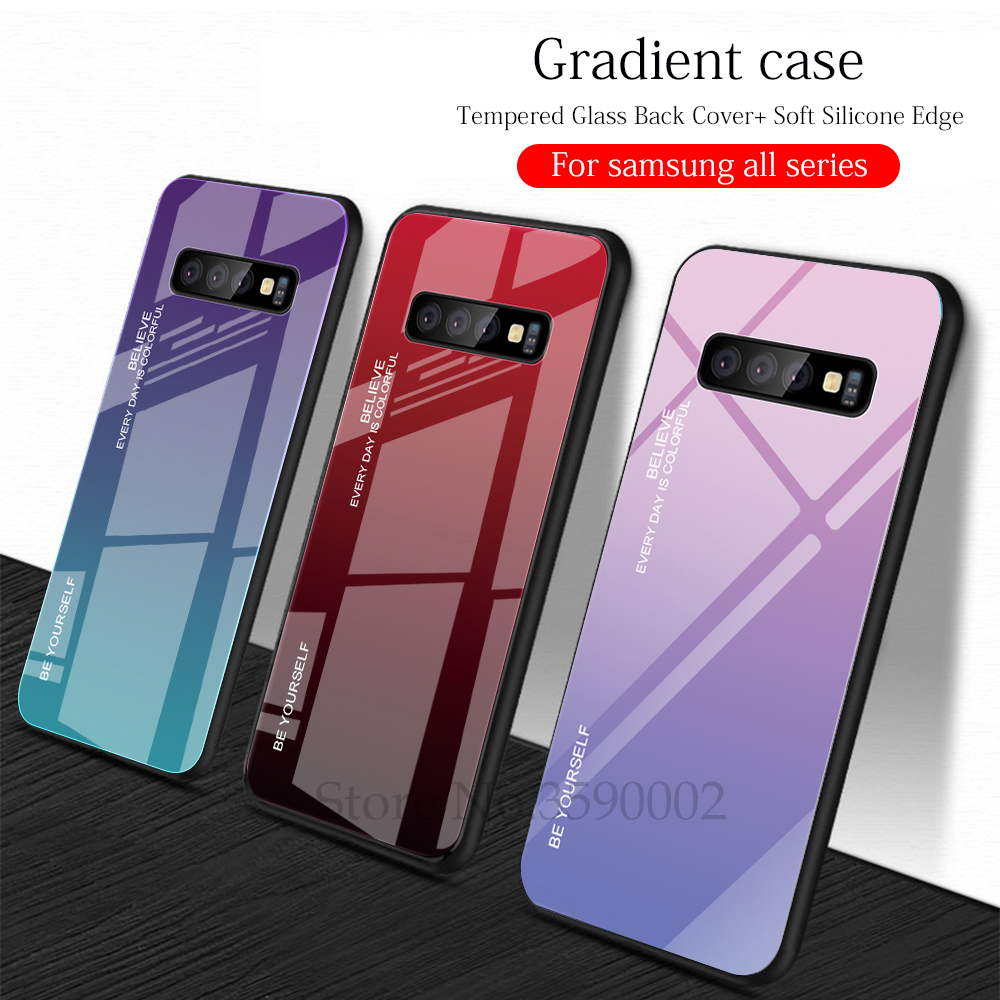 Gradient <font><b>Glass</b></font> phone <font><b>Case</b></font> on For <font><b>samsung</b></font> <font><b>Galaxy</b></font> s10 s9 s8 plus s10E m10 <font><b>m20</b></font> m30 a50 a30 a10 a7 a750 a6 a8 j6 j8 a9 2018 j4 prime image