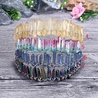 Изысканный ручной натуральный кристальная тиара натуральный кристалл кварца Корона Природный Кварц оголовье Русалка Свадебные аксессуар...