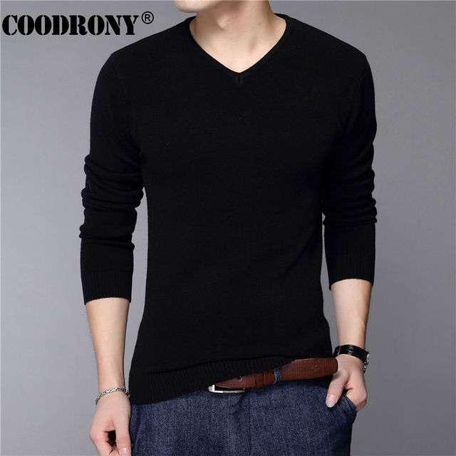 COODRONY Casual Slim Fit Sweater Men Classic Pure Black Pullover Men Solid Color V-Neck Pull Homme Cashmere Wool Sweaters Shirts 1