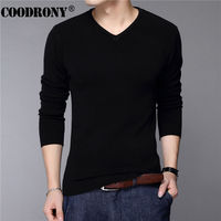 New Fashion Slim Fit Sweater Men Classic Pure Black Pullover Men Solid Color V Neck Pull