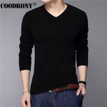 COODRONY Casual Slim Fit Pullover Männer Klassische Reine Schwarz Pullover Männer Einfarbig V-ausschnitt Pull Homme Kaschmir Wolle Pullover Shirts